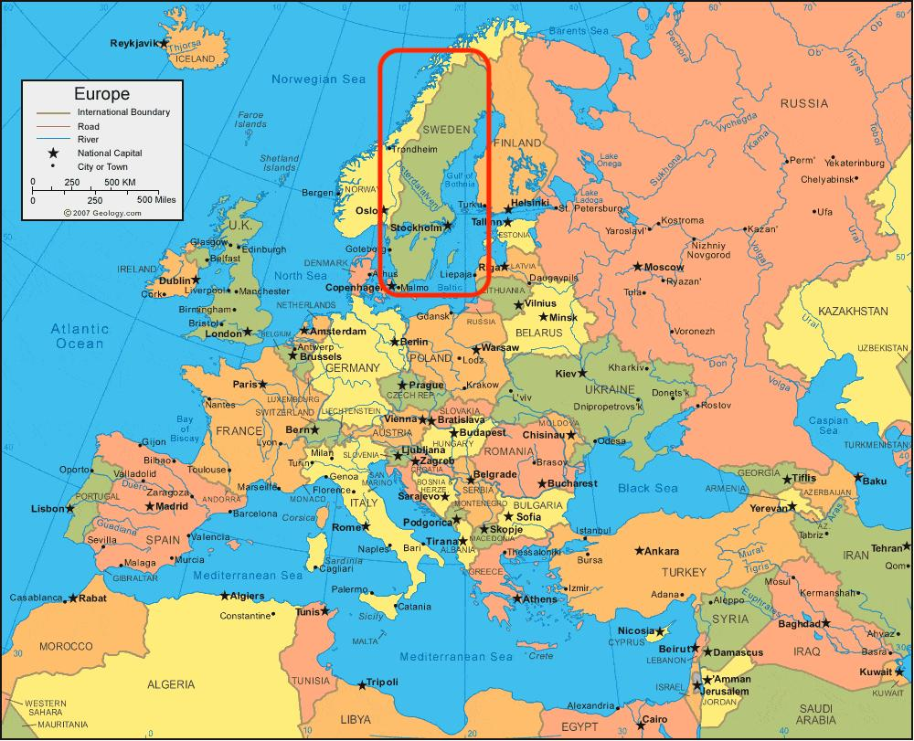 karta europa sverige Sweden Europe map   Map of Europe Sweden (Northern Europe   Europe) karta europa sverige