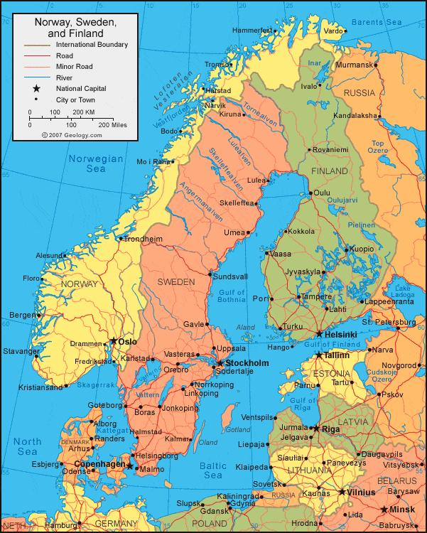 Sweden map Sweden map location Northern Europe Europe