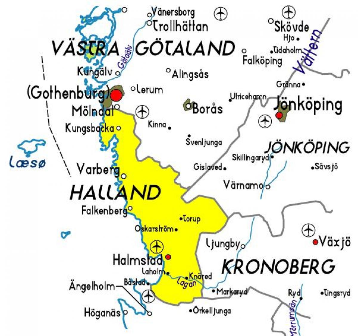 map of Halland Sweden