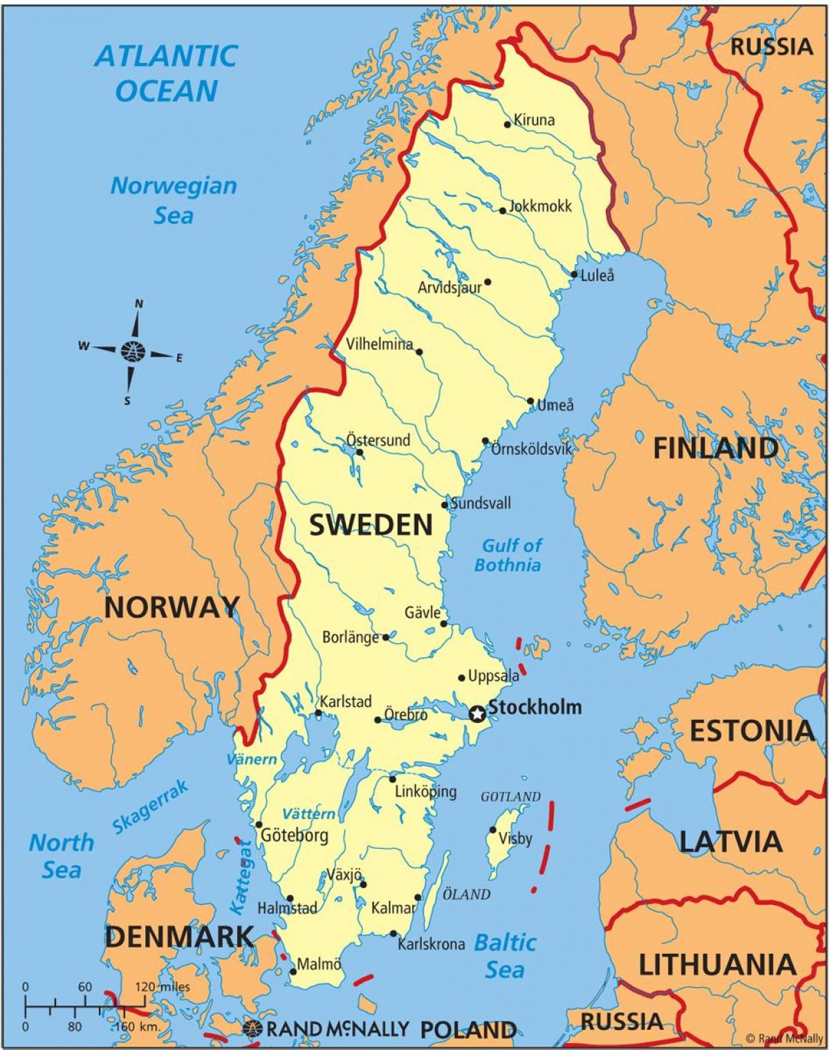 Sweden on a map