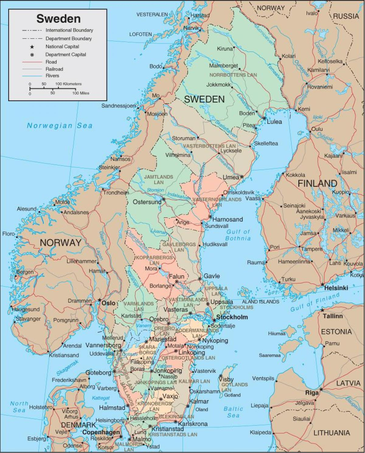 kart over boden sverige Map Sweden   Detailed map of Sweden (Northern Europe   Europe) kart over boden sverige