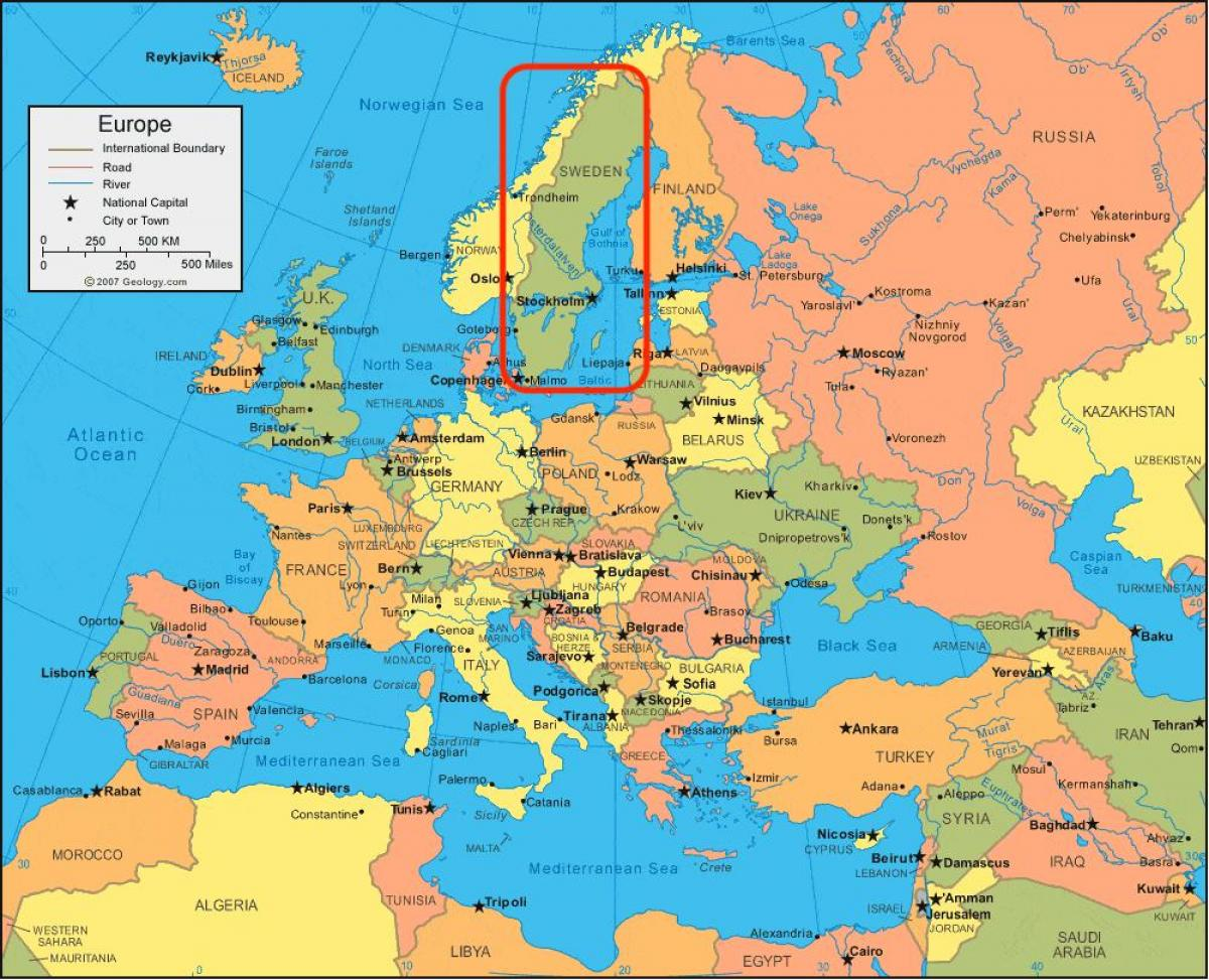 map of Europe Sweden