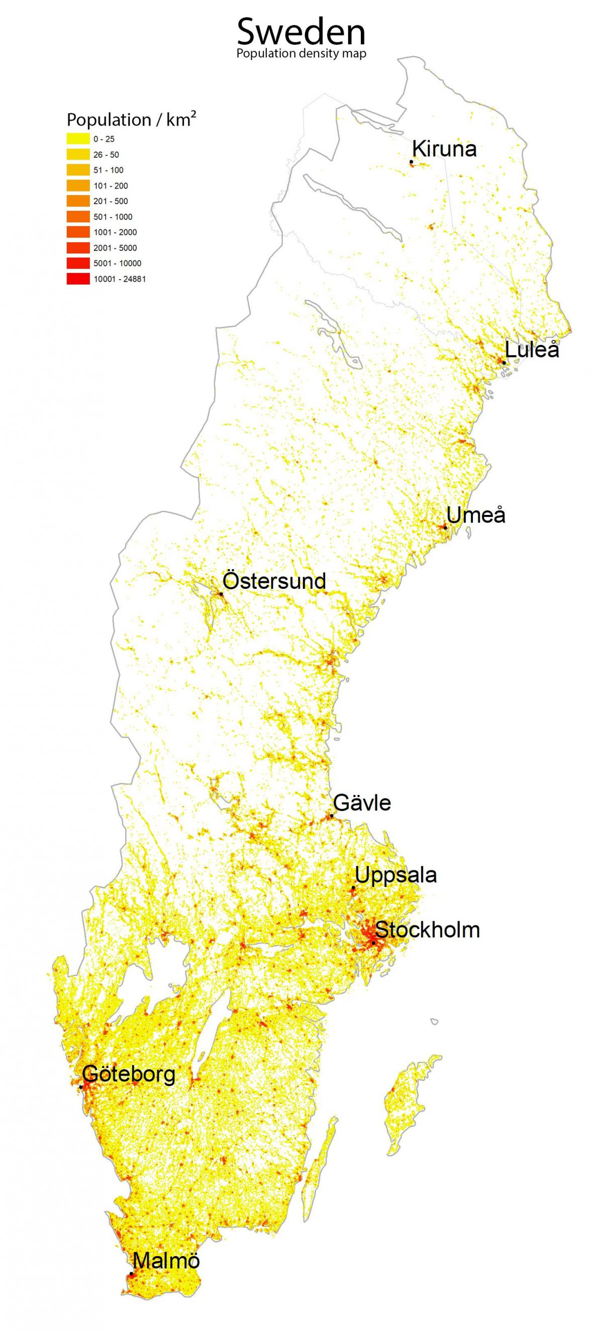population density map of Sweden