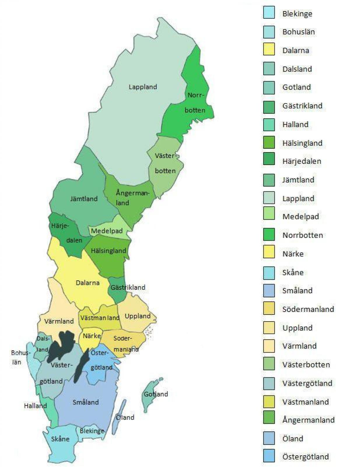 map of Sweden provinces