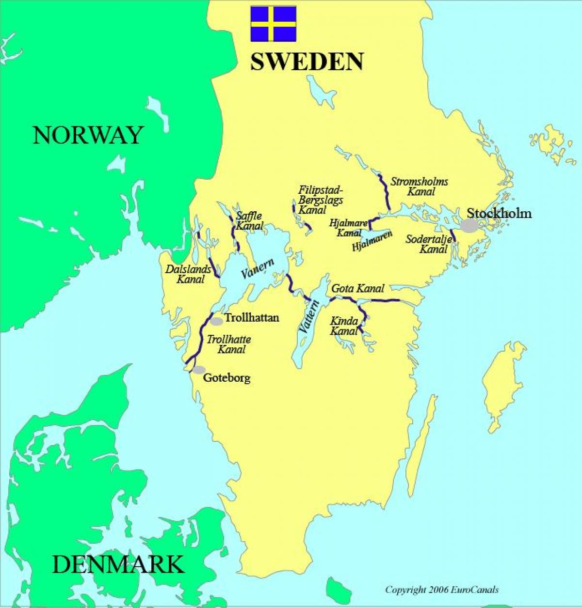 map of Swedish canals
