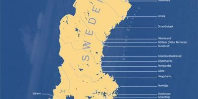 Map of Sweden ports